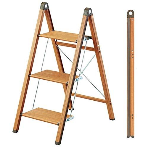 CHEXIAOhuapen Paso Taburete de Madera Escalera Plegable Estante Hogar Multi-función Step Stool aleación de Aluminio Fold Espiga de Escalera Flower Stand Estante, 2 tamaños (Color: A) huajia