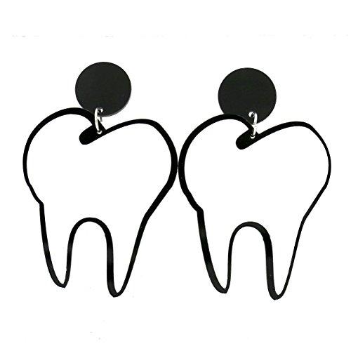 Modeschmuck Mädchen groß Acryl Weiß Zähne Ohrstecker für Frauen