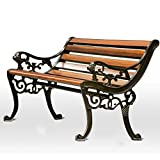 Banco de jardín Banco de patio al aire libre, robusto asiento de...