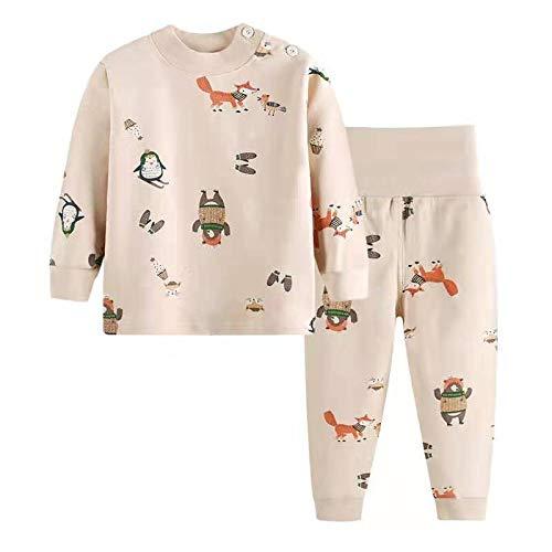 Morbuy Set di Cotone Manica Lunga Pigiami per Bambino Ragazzi e Ragazze del Neonato Caldo Indumenti Pigiama Autunno Invernali Pantaloni + Magliette 2 Pezzi (90cm,Pinguino Beige)