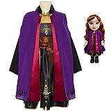 Disney Frozen 2 Anna Adventure Doll 14 Pulgadas de Alto, Viene con Disfraz de Aventura de Anna para niñas, Cuenta con Capa de Viaje Violeta, se Adapta a tamaños 4-6X, para Edades de 3 +