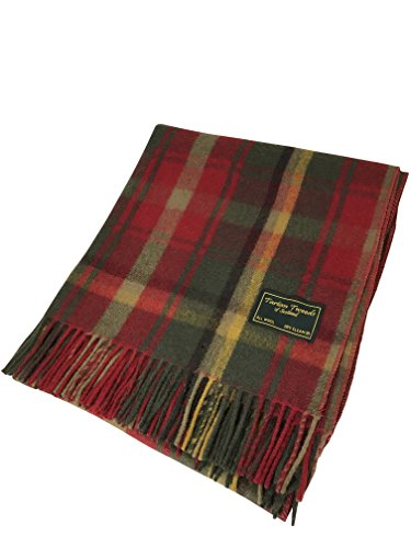 TARTAN TWEEDS New Scottish Tartan 100% Wool Knee Blanket Quality Rug Available In 6 Tartans (Dark Maple)