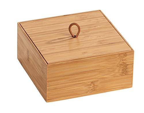 Wenko Box con Tapa de bambú Terra M, Caja de almacenaje, Cesta para el baño, Bambú, 15 x 7 x 15 cm, Natural