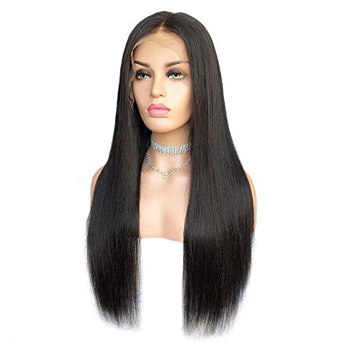 Cbwigs Glueless Brazilian Remy Natural Straight 360 Lace Frontal Wig- 180% Density Human Hair Natural Color (14 inch)