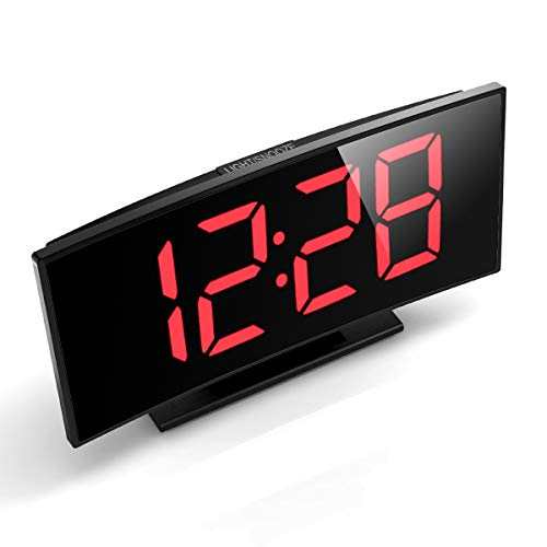 Alarm Clock Curved-Screen Clock with 5'' LED Display and Dimmer 3 Adjustable Alarm Sounds Bedside Alarm Clocks with Snooze for Bedroom Kitchen Office