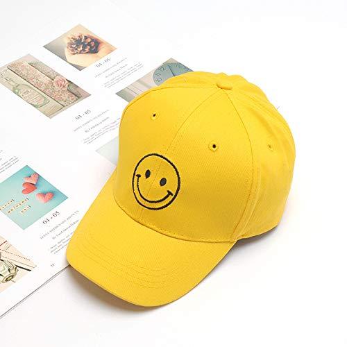 mlpnko Kindermütze Jungen und Mädchen Mütze Baby Lächeln Stickerei Sonnenschirm Mütze Baseballmütze Gelb Smiley (Alle Größen einstellbar)