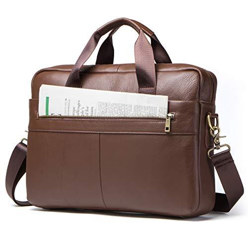 Contacts Genuine Leather 14' Mens Messenger Shoulder Bag Laptop Briefcase Brown