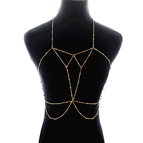 SUQ Sexy Gold BH Körperkette, Frauen Layered Harness Crossover Körper Halskette Bikini Beach BH Kette, Reizvoller Einfacher Kette Frauen Bikini Büstenhalter Kette Harness Attraktive Mode (Golden)