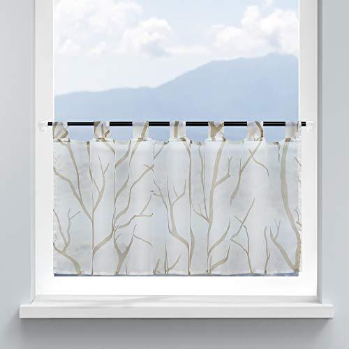 HongYa Visillo para cocina, gasa con trabillas, cortina transparente para ventanas pequeñas, diseño de ramas, altura 45/120 cm, color blanco arena