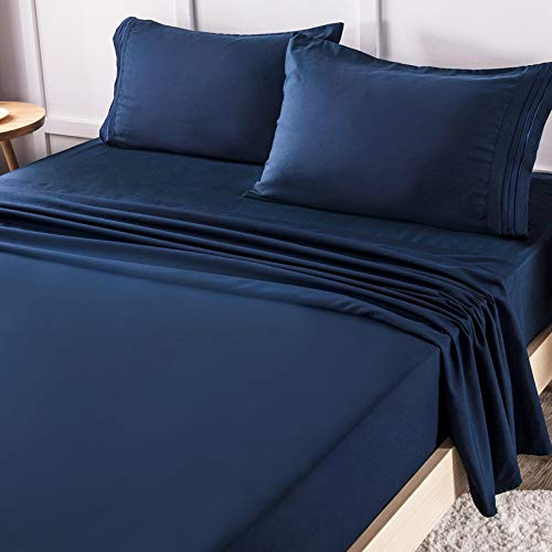 LIANLAM Sheet Set Super Soft Microfiber 1800 Thread Count Luxury Egyptian Sheets 16-Inch Deep Pocket Wrinkle and Hypoallergenic