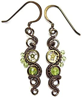 Peridot & Bronze Woven Steampunk Earrings - Steampunk Jewelry