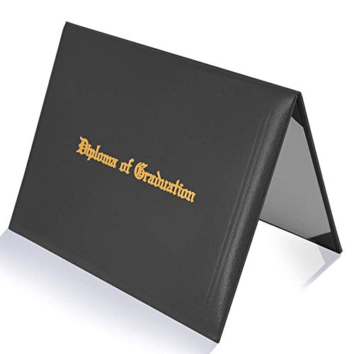 GraduatePro Imprinted Diploma Cover 8.5 x 11, Leatherette Padded Certificate Covers, Graduation Document Holder Letter Size, Black