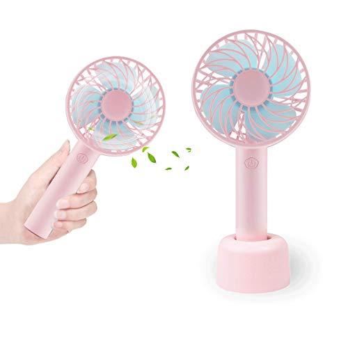 Desk Handheld Mini Fan,Personal Fan,Battery Operated USB Desk Fan,3 Speeds Support Wireless & Micro USB Recharging for Home Traveling Office Outdoor Household Room (Pink)