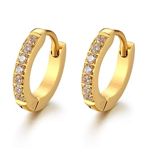 JewelryWe Schmuck Creolen Edelstahl Zirkonia Kreolen Klappcreolen Huggie Ohrringe für Damen Herren 13MM, Gold