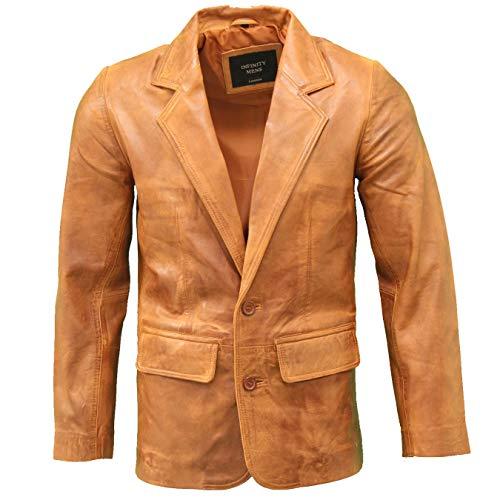 A to Z Leather EIN Raffinierter, maßgeschneiderter Blazer aus echtem Leder mit Zwei Knöpfen. Erhältlich in Schwarz, Braun und Hellbraun.