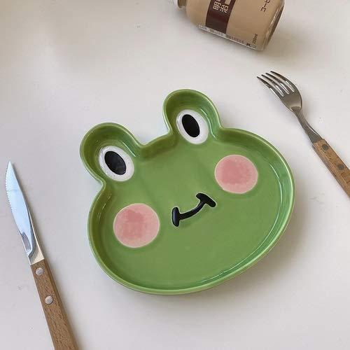 PPuujia Nuevo Dibujos Animados Lindo Animal Forma Bandeja de Almacenamiento Dibujos Animados niños Desayuno Cena Placa Fruta Ensalada Plato (Color : Frog, Plate Size : 8 Inches)