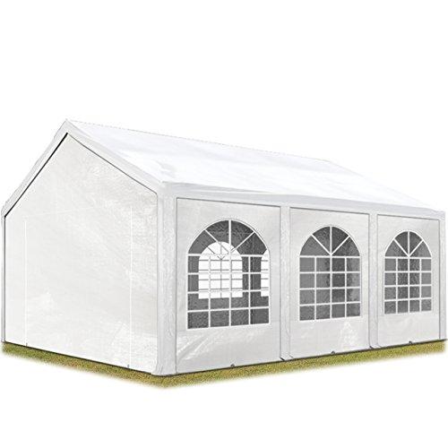 TOOLPORT Hochwertiges Partyzelt 3x6 m Pavillon Zelt ca. 240g/m² PE Plane Gartenzelt Festzelt Wasserdicht weiß