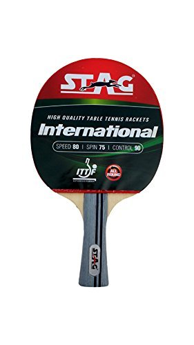Stag International Table Tennis Racquet with wodden case | 180 grams | Intermediate | ITTF Approved Rubber | Multi- Color