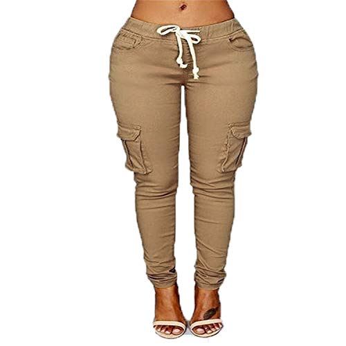 Women's Comfy Elastic Waistband Drawstring Pants Lightweight Workout Joggers Cargo Casual Running Trousers Sweatpants (XX-Large,Khaki)