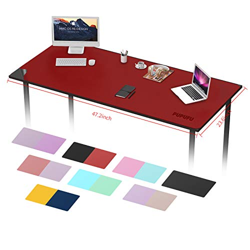 PUPUFU Large Leather Desk Pad Protector47.2x23.6 Inch, Large Office Desk Mat, Multi-Color Desk Blotter,Waterproof Desk Writing Pad for Office and Home(Black/Dark Red)