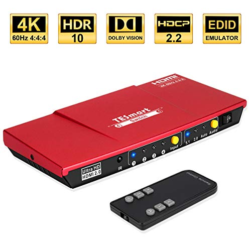 HDMI Switch 4x1 TESmart Ultra HD 4 Anschlüsse unterstützt 4K@60Hz 4: 4: 4 mit Audioausgang und drahtloser IR-Fernbedienung für Xbox, PS 3/4, Roku, Blu-Ray-Player, Firestick, HDTV, Apple TV-Coral Red