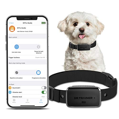 Dr.Trainer B1Pro Dog Bark Collar with APP & Watch Control, Anti Barking Training Collar Smart Progressive Mode with Barking Report, Stop Barking Collar for Small Medium Large Dogs (No Shock)