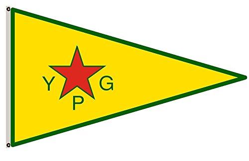 fyon Menschen S Schutz Einheiten YPG; Offizielles bewaffneten Flügel des Supreme kurdisches Komitee Banner Landscap, Gesponnenes Polyester, Reference picture, 3x5ft