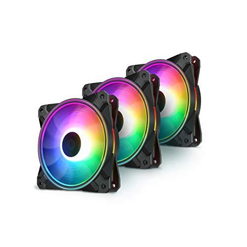 DEEP COOL CF120 Plus, 3 Ventiladores de 120mm para Cajas, 18 Leds RGB Direccionables,Controlador RGB Incluido,Sincronizado con Auara,Chroma, RGB Fusion, Mistic Light y Polychrome.
