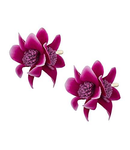 SIX 2er Set Haarspangen [Damen Haarschmuck] - Premium Haarclips » Clips für Haar « Beliebter Frauen Schmuck - Stylische Haarklammer mit Textil-Lilien – vergoldete...