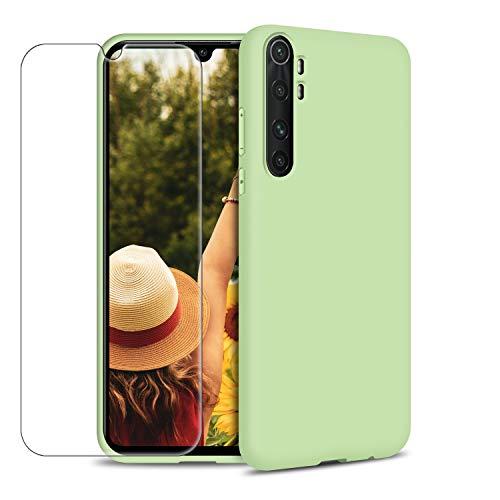 Coque pour Xiaomi Mi Note 10 Lite, Étui Silicone Souple TPU Housse + Verre Trempé Protection écran Ultra Mince Couleur Unie Antichoc Anti-Rayures Bumper Protecteur, Vert