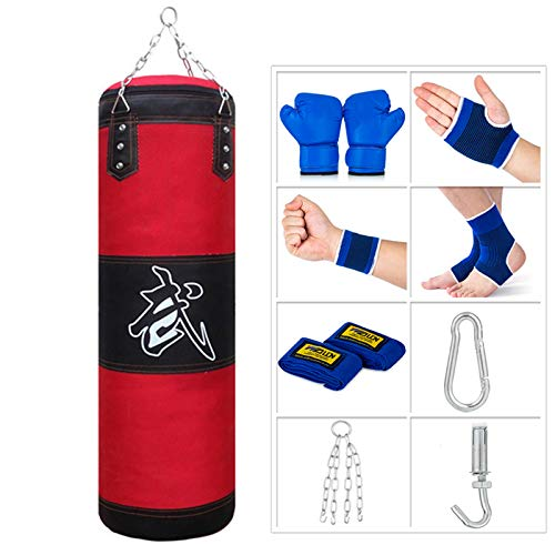 Sfeexun Heavy Bag for Kids Indoor Garden Punching Bag Unfilled Boxing Bag Set with Punching Gloves Chain Ceiling Hook for MMA Kickboxing Muay Thai Karate Taekwondo …
