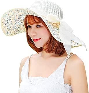 Hello2U Women's Big Brim Sun Hat Floppy Foldable Bowknot Straw Hat Summer Beach Hat, Dark Blue