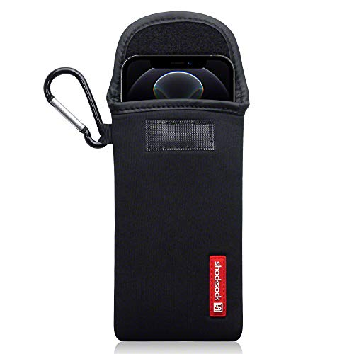 shocksock, Kompatibel mit iPhone 12 / iPhone 12 Pro Neopren Tasche mit Carabiner Hülle - Schwarz