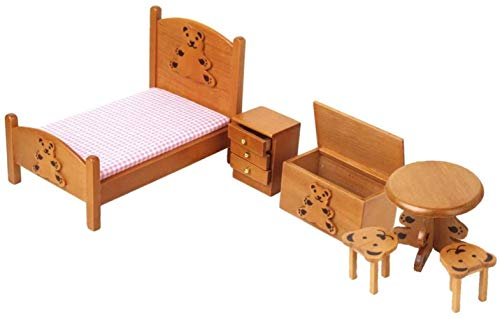 SLL Spielzeug Toy 12.01 Puppenhaus Miniatur Kinderzimmer Holzmöbel-Set