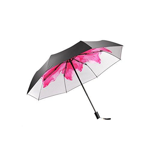 XiuHUa Compacte Reisparaplu-Parasol Draagbare Opvouwbare Paraplu Zonneschaduw Anti-uv Sneldrogende Winddichte Reizen Paraplu-Winddicht Dubbele Luifel Constructie-Teflon Coating (Purple/Rood) paraplu stan