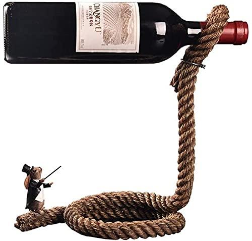 wikkeny Titular de vinos Personalidad Creativa Conejo Magician Cuerda de Vino Rack de Vino Artesanía Decoraciones de Almacenamiento de Vino Organizador