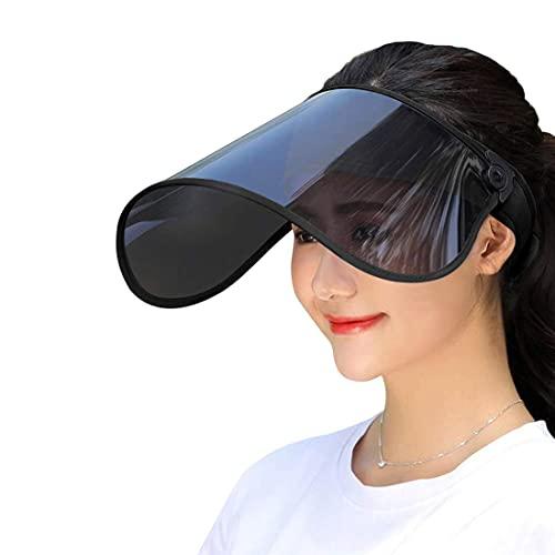 サンバイザー レディース UVカット レインバイザー UPF50 紫外線対策 日焼け対策 まぶしさを軽減 視界良好 つば広幅調節可 つば広 ワイド 帽子(ブラック)