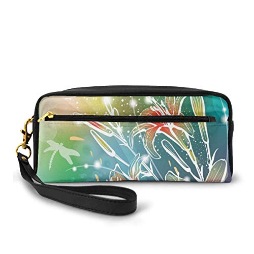 Pencil Case Pen Bag Pouch Stationary,Spring Theme Sketchy Digital Leaves Lilacs with Sunbeams Image,Small Makeup Bag Coin Purse