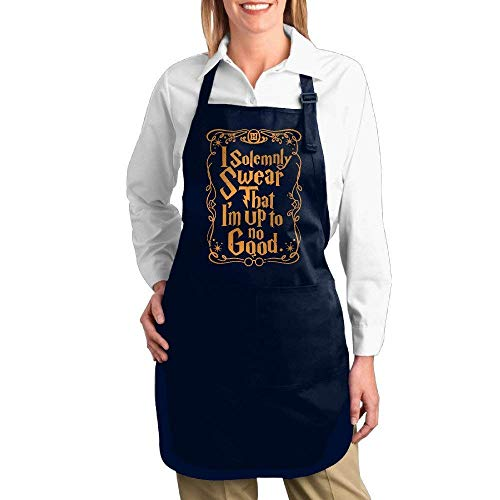 Eriesy Tablier De Cuisine,Réglable Cuisson à Domicile Tabliers,Adult I Solemnly Swear That I Am Up to No Good Kitchen Apron Baking Aprons Buckle Halter 7072cm (2 Color)