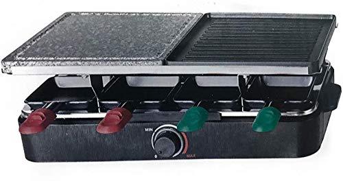 Raclette Grill QUIGG Elektrishes Raclette 1400 Watt Edelstahl heizschlange Beideseitig verwendbare Grillplatte