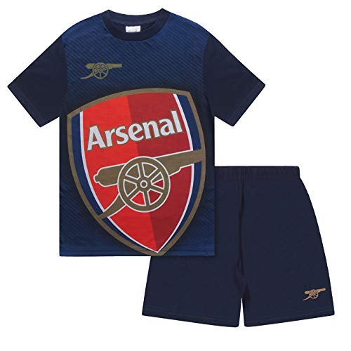 Arsenal FC Official Football Gift Boys Sublimation Short Pyjamas Navy 10-11 Yrs