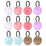 Lurrose 12Pcs Fluffy Ball Hair Ties Ponytail Holders Elastic Pom Pom Ball Hair Tie Cute Hair Rope for Toddler Girls Kids (White + Pink + Sky Blue + Khaki + Light Purple + Red 2pcs for Per Color)