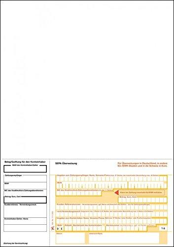 SEPA-Überweisung, neutral, 1-fach, DIN A4 Quittung links, 100