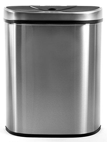 Homra Luxus Mülltrennsysteme Abfalleimer mit Sensor, 70 Liter, Hochwertiger Edelstahl, Automatische Mülltrenner Mülleimer mit Bewegungssensor (3-Fach)