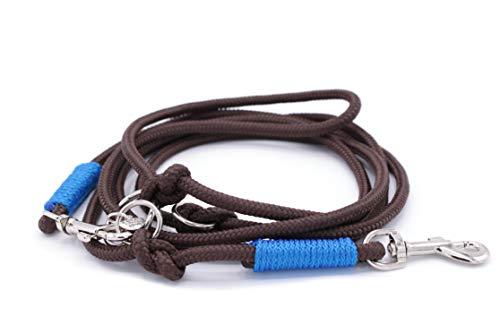 Tauleine/Führleine/Hundeleine in braun/blau, 6 oder 8 mm-Durchmesser