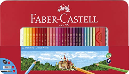 Faber-Castell 115894 - Buntstift hexagonal, 60er Metalletui