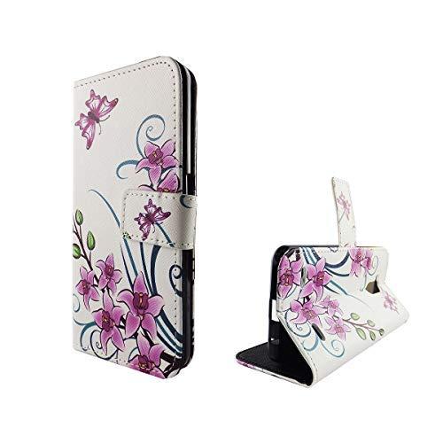 König Design Handyhülle Kompatibel mit ZTE Blade V7 Lite Handytasche Schutzhülle Tasche Flip Case mit Kreditkartenfächern - Lotusblume Pink Weiß