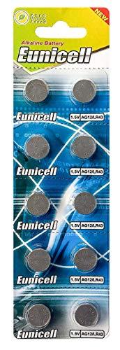 10 x AG12 1,5V Quecksilberfrei 100 mAh (1 Blistercard a 10 Batterien) LR43 186 EINWEG Markenware Eunicell