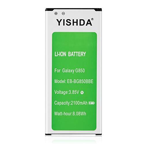 YISHDA - Batería de repuesto de iones de litio para Galaxy Alpha de 2100 mAh EB-BG850BBE para Samsung Galaxy Alpha G850 compatible con G850T, G850F, G850H, G850M, G850W, G8508S