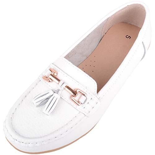 Damen Schlupfschuhe Leder Loafer/Deck/Bootsschuhe/Sandalen, Weiß - weiß - Größe: 38 EU